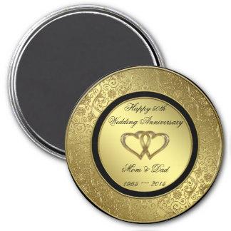 Classic Golden Wedding Anniversary Round Magnet