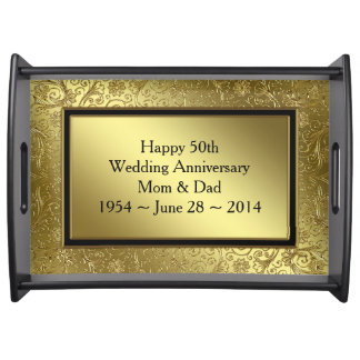 Classic Golden Wedding Anniversary Serving Tray
