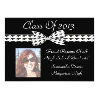 Classic Graduation Cap Bow & Ribbon Add Photo 5x7 Paper Invitation Card