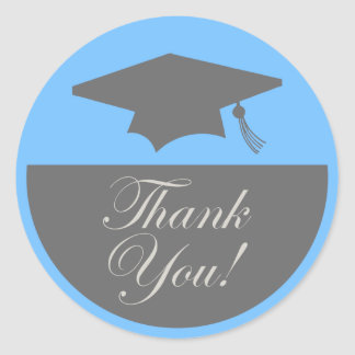 Classic Graduation Thank You Label (Light Blue)