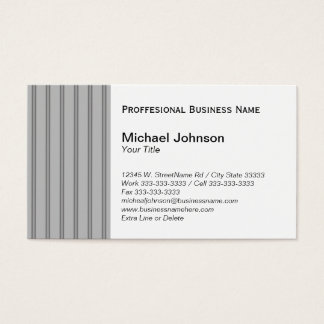 Classic Gray Black Pinstripe Custom Professional Business Card