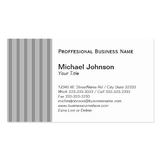Classic Gray Black Pinstripe Custom Professional Pack Of Standard Business Cards