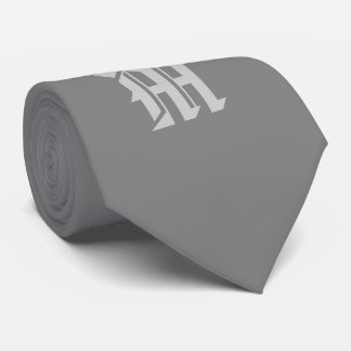 Classic Gray monogrammed tie