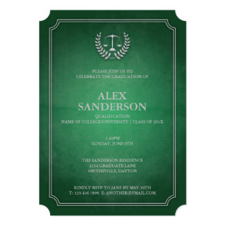 Classic Green and Silver Law School Graduation 13 Cm X 18 Cm Invitation Card