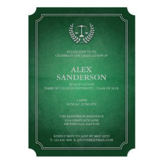 Classic Green and Silver Law School Graduation 13 Cm X 18 Cm Invitation Card