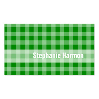 Classic Green Plaid Checkerboard Personalized Business Card Template