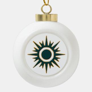 Classic Green Sunburst Ceramic Ball Christmas Ornament