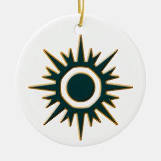 Classic Green Sunburst Ceramic Ornament