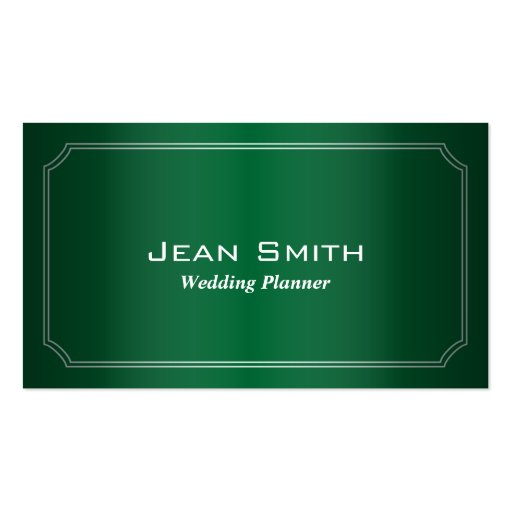 Classic Green Wedding Planner Business Card