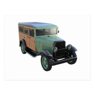 Classic Green Woody Truck Postcard