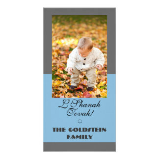 Classic Grey and Blue Rosh Hashanah photo card