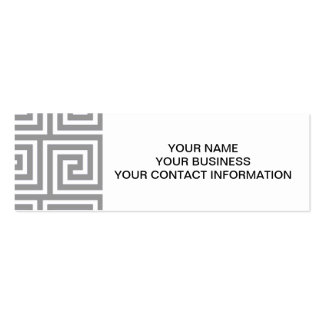 Classic Grey and White Greek Key Pattern Business Card Templates