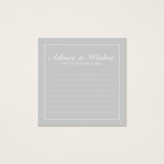 Classic Grey and White Wedding Advice and Wishes Square Business Card