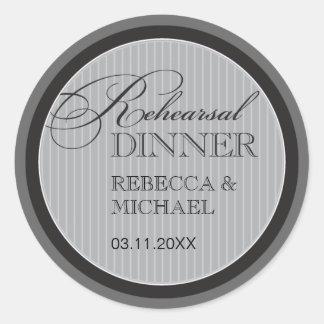 Classic Grey Pinstripe Rehearsal Dinner Sticker