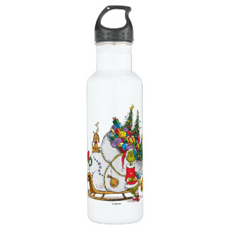 Classic Grinch   The Grinch & Max with Sleigh 710 Ml Water Bottle