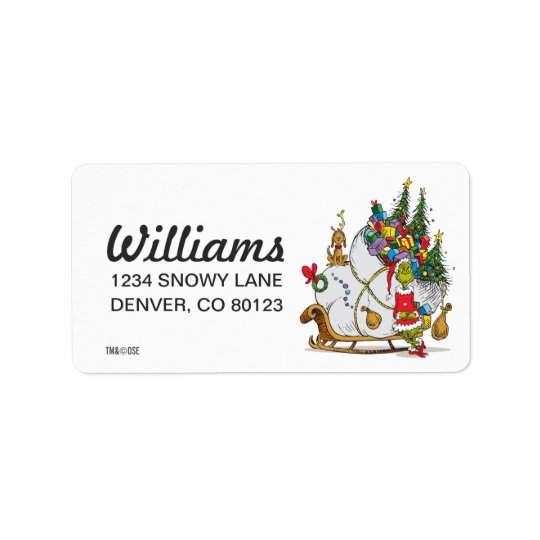 Classic Grinch | The Grinch & Max with Sleigh Address Label