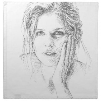 Classic hand drawn portrait napkin