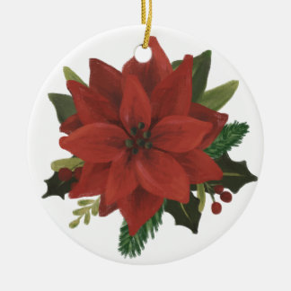 Classic Hand Painted Poinsettia Holiday Ceramic Ornament