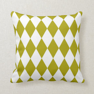 Classic Harlequin Diamond Pattern Chartreuse Cushion