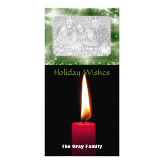 Classic Holiday Red Christmas Candle Photo Insert Customized Photo Card