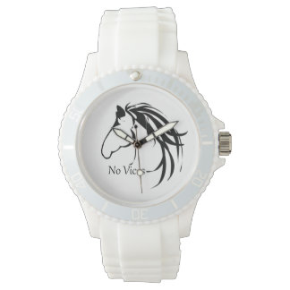 Classic Horse Head Logo Horses No Vices Quote Wrist Watch