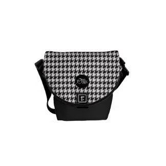 Classic Houndstooth Pattern in Black and White Commuter Bags