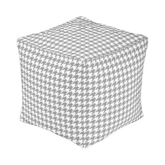 Classic Houndstooth Pattern in Grey and White Pouf