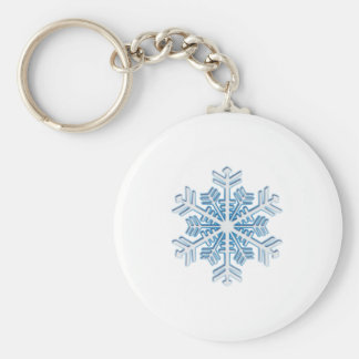 Classic Icy Blue Winter Christmas Snowflake Basic Round Button Key Ring