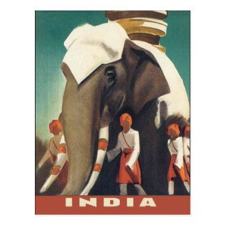 Classic India vintage travel poster illustration Postcard
