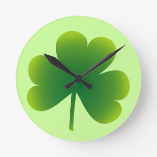 Classic Irish Shamrock Round Clock