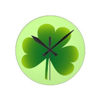 Classic Irish Shamrock Round Clocks