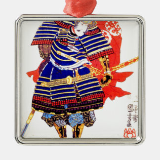 Classic Japanese Samurai Art Japan Silver-Colored Square Decoration