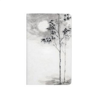 Classic  japanese sumi-e painting art bamboo moon journal