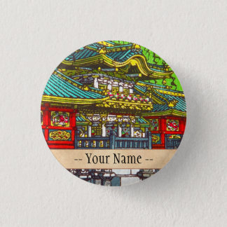 Classic japanese themed oriental scenery temple 3 cm round badge