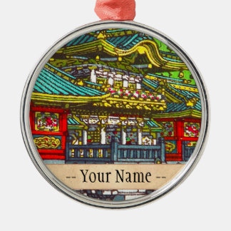 Classic japanese themed oriental scenery temple metal ornament