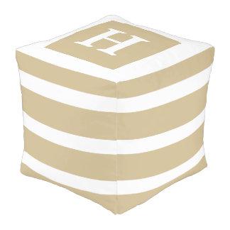 Classic Khaki and White Stripe Monogram Pouf