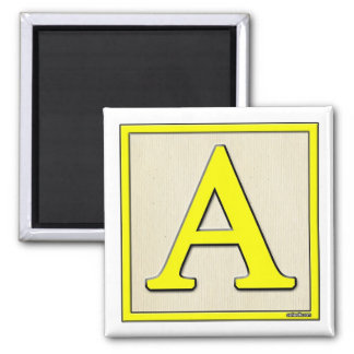 Classic Kids Letter Block A Square Magnet