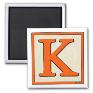 Classic Kids Letter Block K Square Magnet