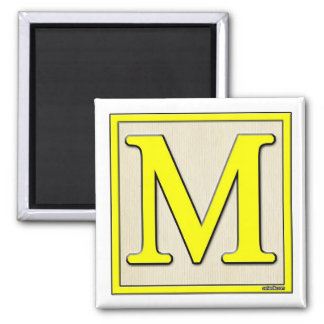 Classic Kids Letter Block M Square Magnet