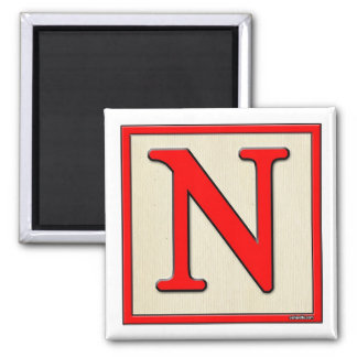 Classic Kids Letter Block N Square Magnet