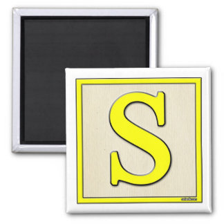 Classic Kids Letter Block S Square Magnet