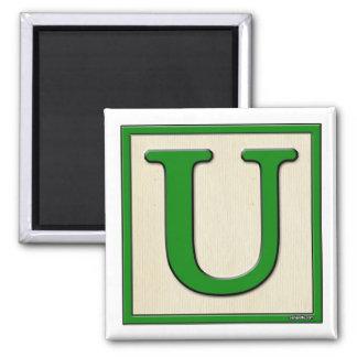 Classic Kids Letter Block U Square Magnet
