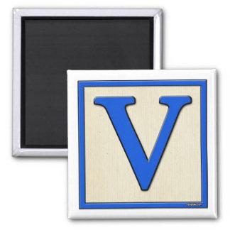 Classic Kids Letter Block V Square Magnet