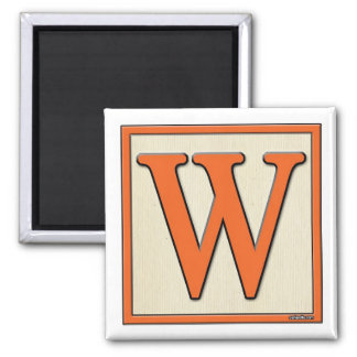 Classic Kids Letter Block W Square Magnet
