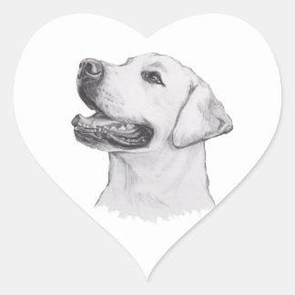 Classic Labrador Retriever Dog profile Drawing Heart Sticker