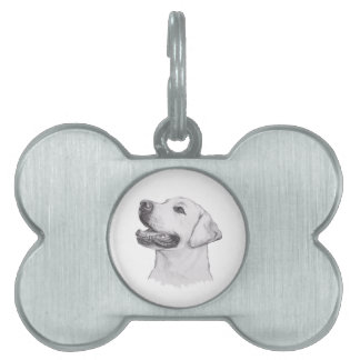 Classic Labrador Retriever Dog profile Drawing Pet Name Tag