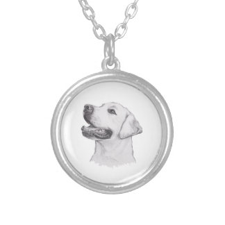 Classic Labrador Retriever Dog profile Drawing Silver Plated Necklace