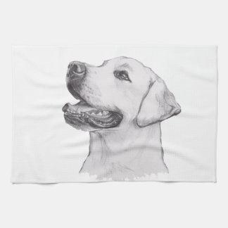 Classic Labrador Retriever Dog profile Drawing Tea Towel
