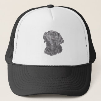 Classic Labrador Retriever Dog profile Drawing Trucker Hat