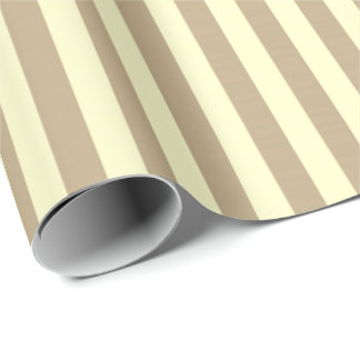 Classic Lemon Yellow Pastel Beige Stripes Paris Wrapping Paper